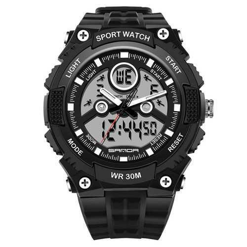 SANDA 709 Dual Display 30M Waterproof Outdoor Sport Military Fashion LED Digital Watch