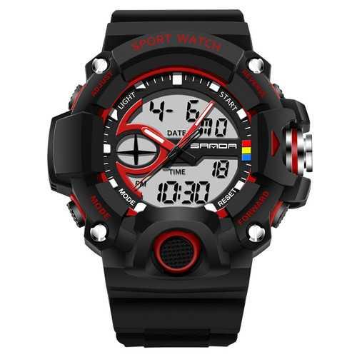 SANDA 715 Dual Display Multi-function Sport Stopwatch Outdoor Fashion Men Digital Watch