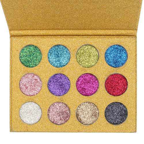 12 Color Diamond Glitter Rainbow Eye Shadows MakeUp Cosmetic Pressed Palette