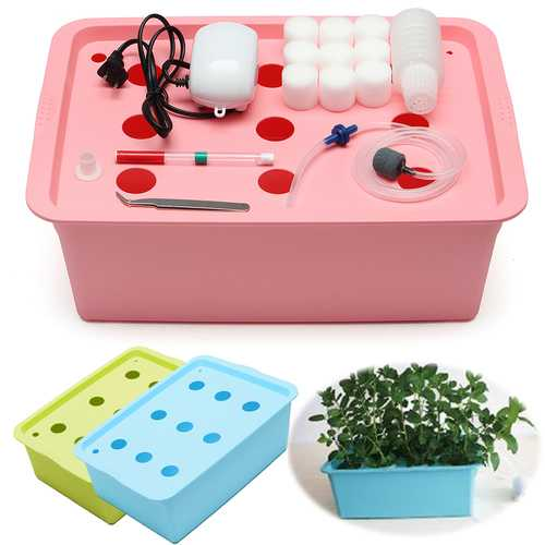 220V Hydroponic System Kit 9 Holes DWC Aerobic Soilless Cultivation Indoor Water Planting Box