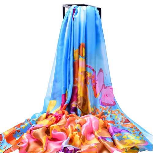 LYZA Women Long Flower Print Beach Shawl Casual Outdoor Anti-UV Soft Scarves