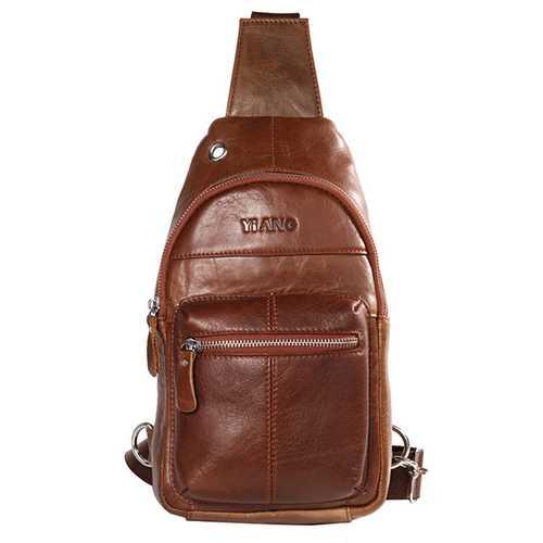 Men Genuine Leather Brown Chest Pack Crossbody Shoulder Bag Travel Sling Bag