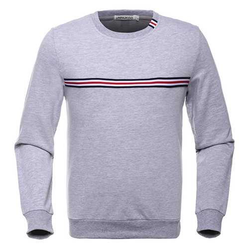 Fashion Striped Pattern Cotton Sweater Men's Solid Collar Round Neck Long Sleeve Sweatshirt