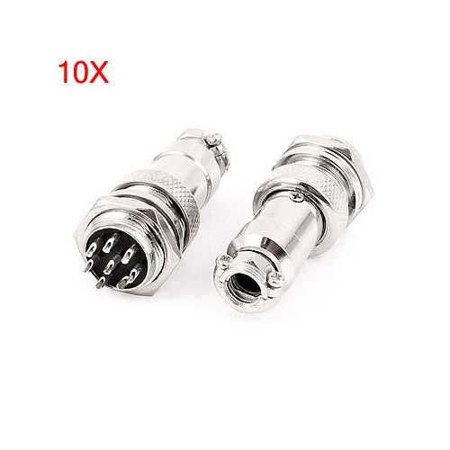 10 Sets GX16-8 16mm 8 Pin Male & Female Wire Panel Connector Circular Aviation Connector Socket Plug