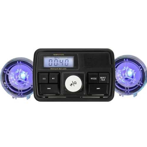 Motorcycle MP3 Player Handlebar Radio Stereo ATV Speaker Anti Theft Alarm