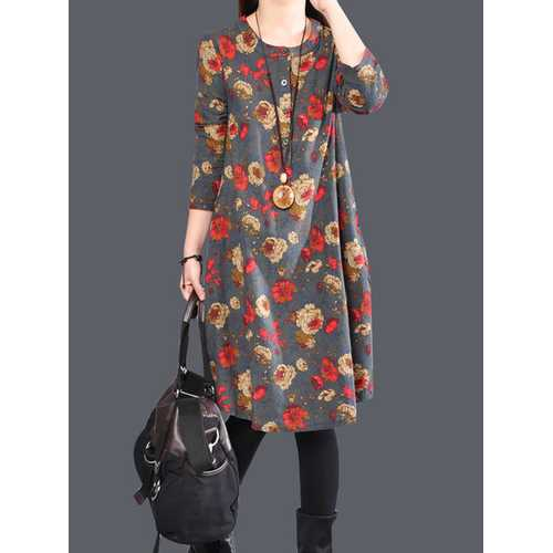 Casual Floral Print Loose Long Sleeve O-neck Women Dresses