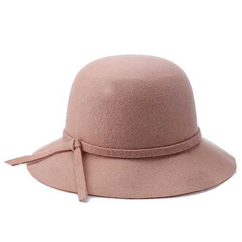 Women Winter Elegant Wool Bucket Hat Bow Tie Wide Brim Solid Floppy Hat