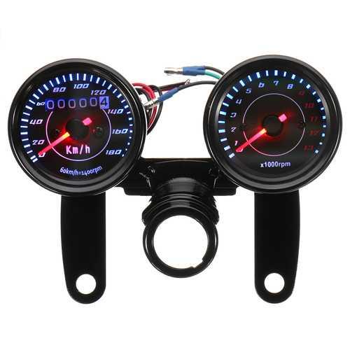 Universal LED Motorcycle Black Tachometer+Odometer Speedometer Gauge w/ Bracket
