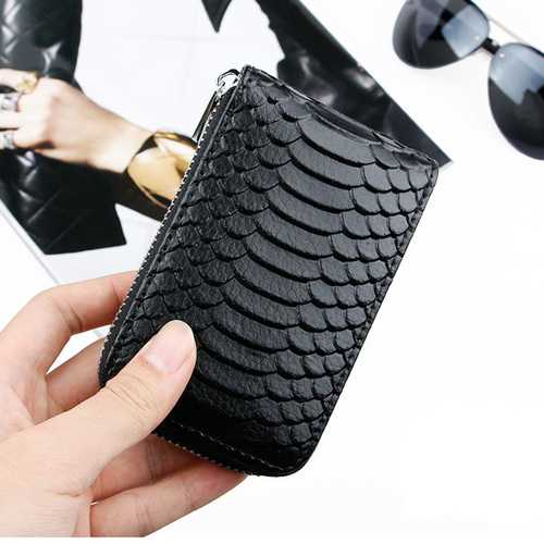 High Quality Zipper Around Genuine Leather Crocodile Pattern Card Holder Wallets Coin Purse