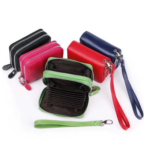 High Quality Genuine Leather Women Double Zipper Around Handbag Card Holder Wallets Coin Purse