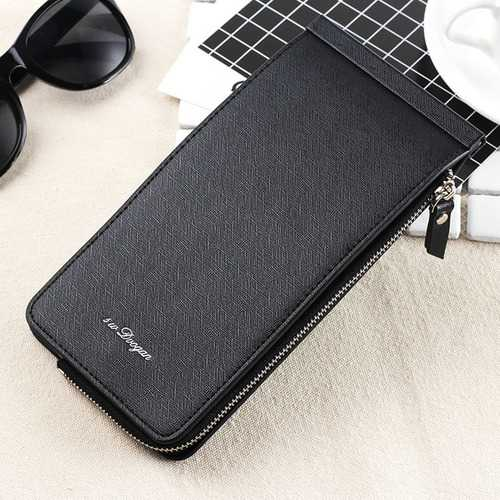 High Quality PU Leather Zipper Around Long Wallet Handbag Card Holder Coin Purse for Men and Women