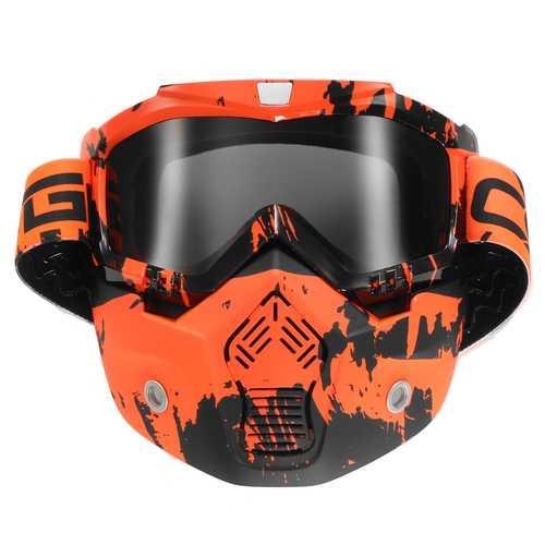 Detachable Modular Face Mask Shield Goggle Protect Motorcycle Helmet