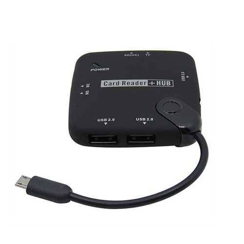 Micro USB to 3 Port USB 2.0 4 Port TF Card Card Reader Hub with DC Port