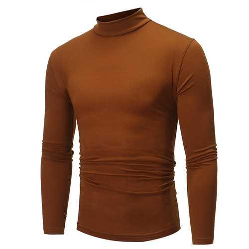 Fall Winter Polyester High Collar Long Sleeve T-Shirts Casual Slim Basic Tees