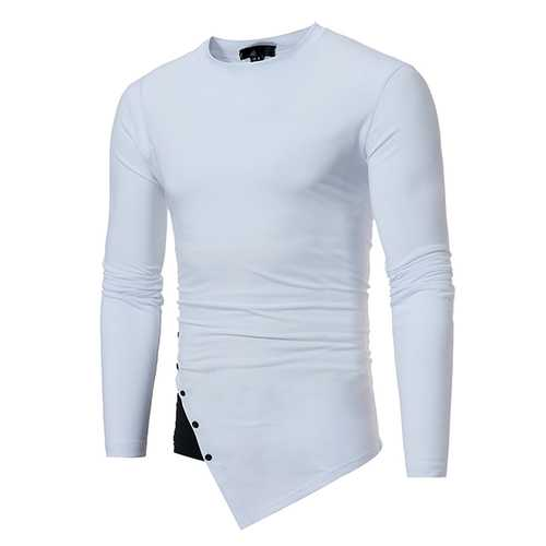 Autumn Concise Bumped Irregular Hem T-shirt Men's Casual Stiching Color Buttons Long Sleeve Tops