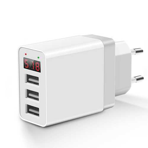 Bakeey 3.1A LED Display 3 USB Ports EU Plug Fast Travel Wall Charger For iPhone 11 Pro Max Xs 8 Plus S8 Xiaomi 6