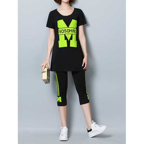 Casual Letter Print Short Sleeve Pure Color Tracksuit For Women