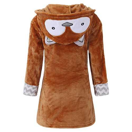 Kids Cartoon Pattern Bathrobe Long Sleeve Hooded Wrap Robe