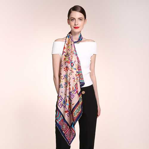 90CM*90CM Women Silk Printing Square Scarves Casual Ladies Pure Silk Scarf Shawl