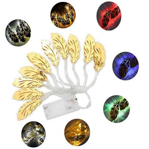 1.6M 10LEDs Feather Shaped Iron Gold Indoor Fairy String Light For Wedding Christmas