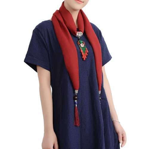 Ethnic Multifunction Women Necklace Bohemian Flower Bead Tassel Cotton Scarf Clothing Accessories