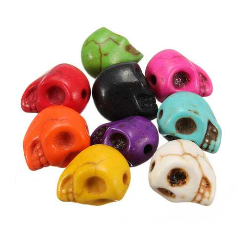 30pcs Charm Turquoise Gem Carved Skull Center Side Colorful Drilled Beads DIY Jewelry