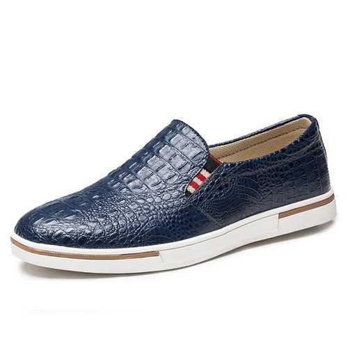 Men Leather Elastic Band Sneakers