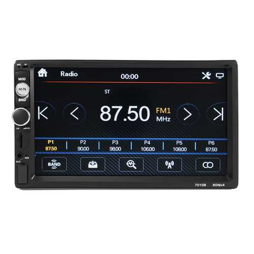 2 DIN 7 Inch Car Player MP5 FM Radio Bluetooth Rear Camera USB TF Aux RC Touchscreen