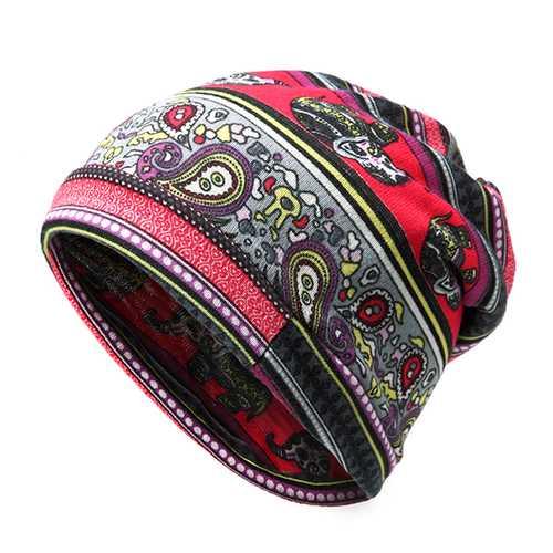Women Cashew Flowers Printing Beanie Hats Casual Warm Multi-function Collar Scarf