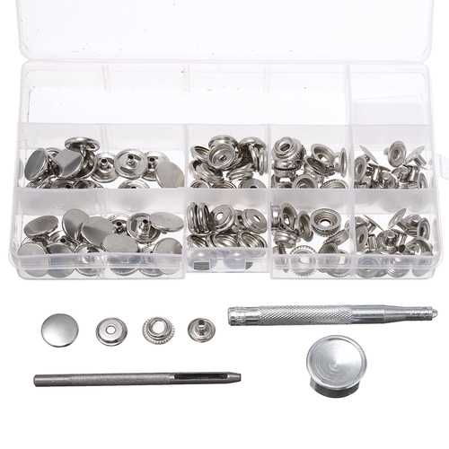 120Pcs 15mm Heavy Duty Silver Snap Fastener Press Studs Button With Tool