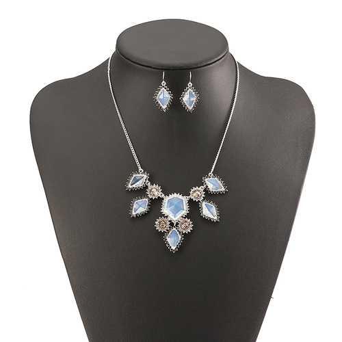 JASSY® Fine Jewelry Set Elegant Platinum Plated White Opal Crystal Gemstone Women Necklace Earrings