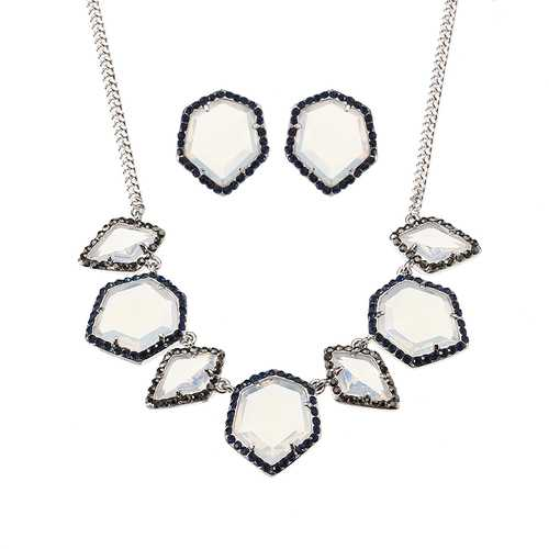 JASSY® Luxury Women Jewelry Set Elegant Platinum Plated White Opal Crystal Necklace Earrings Gift