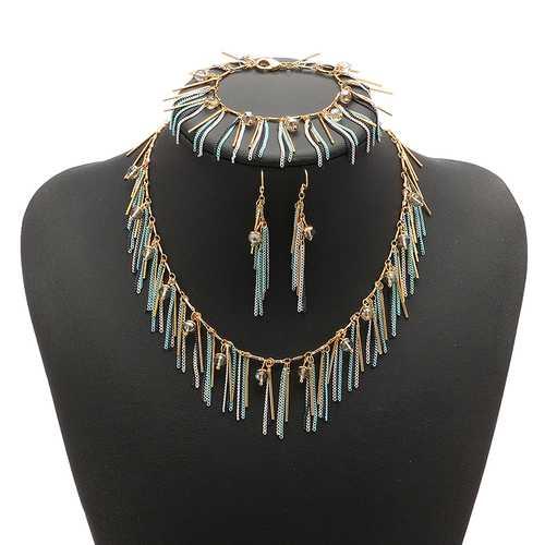JASSY® Women Jewelry Set Bohemian Luxury 18K Gold Plated Crystal Tassel Necklace Bracelet Earrings