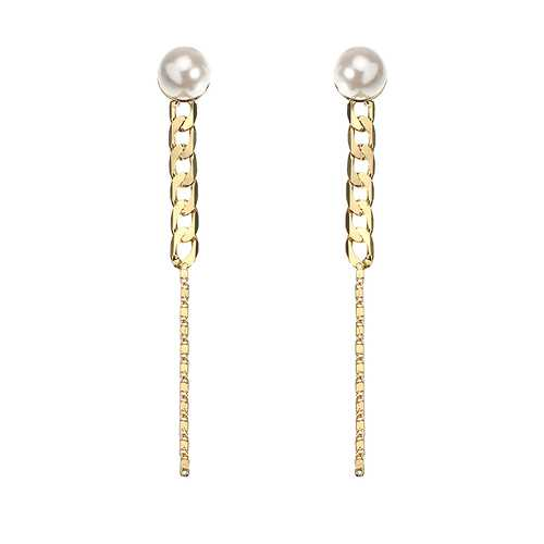 JASSY® 18K Gold Plated Pearl Earrings Simple Chain Shape Line Pendant Ear Stud Gift for Women