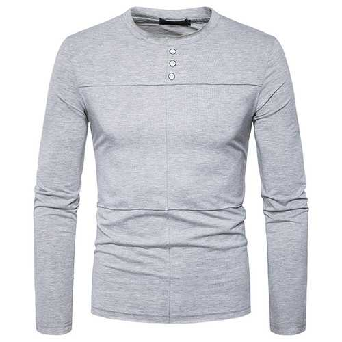 Men's Brief Style Fold T-shirt Casual Buttons Round Neck Long Sleeve T-shirt