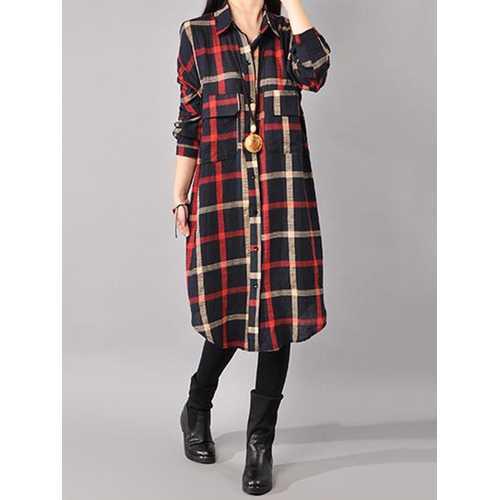 Casual Loose Plaid Turn-down Collar Long Sleeve Women Dress