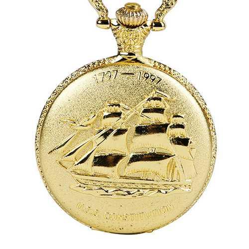 DEFFRUN Vintage Sailing Boat Pattern Quartz Pocket Watch