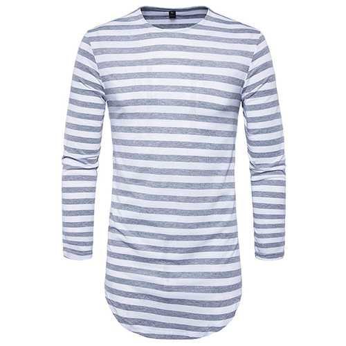 Hip-hop High Street T-shirt Men's Round Neck Fashion Stripes Long T-shirt