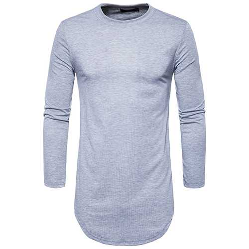 Fashion Double Side Zipper T-Shirt Men 's Casual Long Style Round Neck Tops Tees