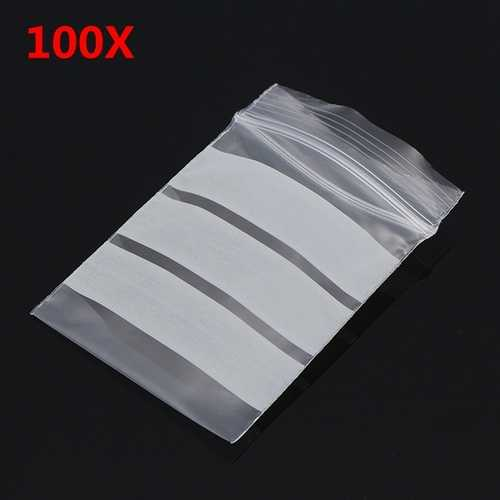 100Pcs 4x6cm Reclosable Ziplock Bag with Writing Panels PE Self Adhesive Seal Ring Bags