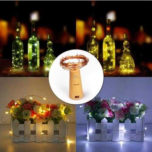 Battery Powered 15LEDs Cork Shaped Wine Bottle Night Fairy String Light for Christmas Party
