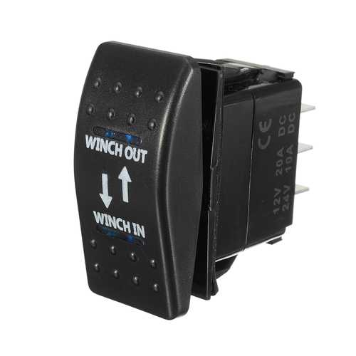 12V 20A (ON)-OFF-(ON) Rocker Switch Momentary Winch In Winch Out LED 7-Pin