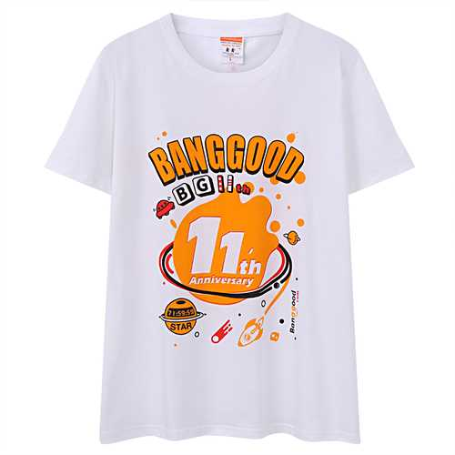 Banggood 11th Anniversary T-shirt Creative DIY Pattern Unisex Leisure Tops Tees