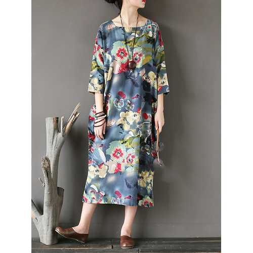 Casual Loose Floral Print Square Collar Women Dress
