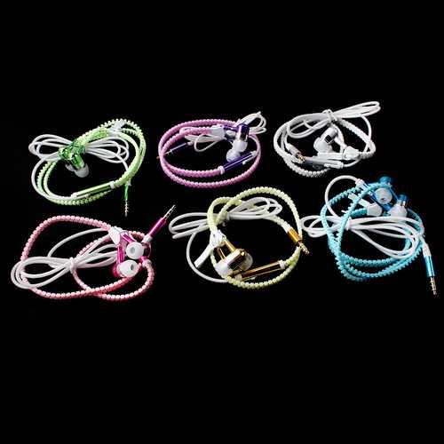 Glow In The Dark Zipper Metal Luminous Light Earphones Earbuds With Mic