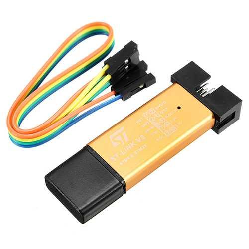 5pcs 3.3V 5V XTW ST-LINK V2 STM8 / STM32 Simulator Programmer Downloader Debugger 500MA Fuse Short Circuit Protection Aluminum Alloy U Disk Shell With 20cm Dupont Wire