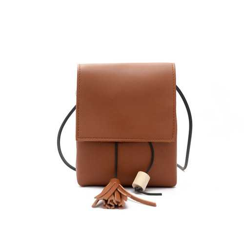 Mini PU Leather Hasp Vertical Tassel Shoulder Bag Phone Wallet for iPhone Xiaomi Samsung