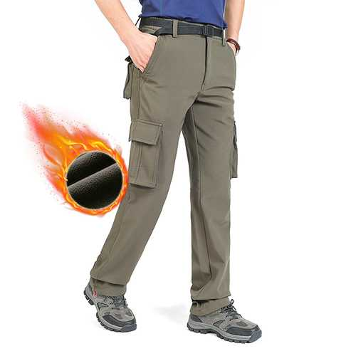 Autumn Winter Multi Pocket Casual Pants Men's Large Size Loose Straight Pants Warm Fleece Trousers