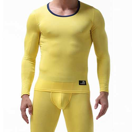 Mens Fall O Neck Tight Modal Breathable Pajamas Sets Casual Sleepwear