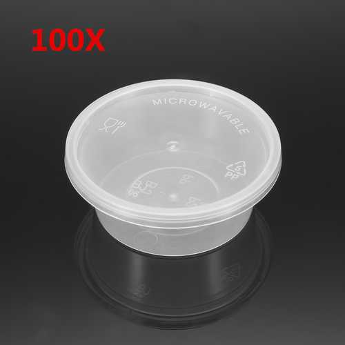 100Pcs 50mL Clear Disposable Plastic Soy Sauce Condiment Cups Take Out Container with Lid